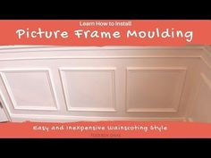 How to Install Picture Frame Moulding Wainscoting. Inexpensive DIY wainscoting idea solution to glam up any space. Determine wainscoting height and width. Basement Wainscoting, Installing Wainscoting, Picture Frame Wainscoting, Wainscoting Height, Black Wainscoting, Painted Wainscoting, Dining Room Wainscoting, Wainscoting Panels, Picture Frame Molding