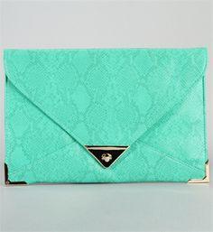 Mint Green Snake Print Clutch