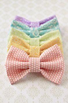 Set of 5 Fabric Hair Bows in Pastel Rainbow Colors by FioriFinti, $20.00