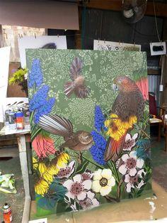 Flox -- Hayley King NZ -  love Nz Art, Art For Art Sake, Garden Mural, School Murals, New Zealand Art, Kiwiana, Stencil Art, Public Art, Artist Painting