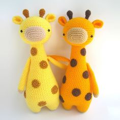 Tall giraffe with spots amigurumi crochet pattern by Little Bear Crochet