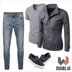Doublju Mens Trendy Lightweight Versatile Jacket & Doublju Mens V-Neck T-shirts with Short Sleeve #doublju #doubljumen #fashion #mensstyle #summerstyle #spring #dailylook