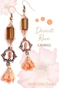 How-To Jewelry Tutorial: Desert Romance Earrings Diy Jewelry Projects, Beaded Boxes, Jesse James, Earring Tutorial, Desert Rose, Rose Earrings, Wrap Style, Copper Wire, Herringbone
