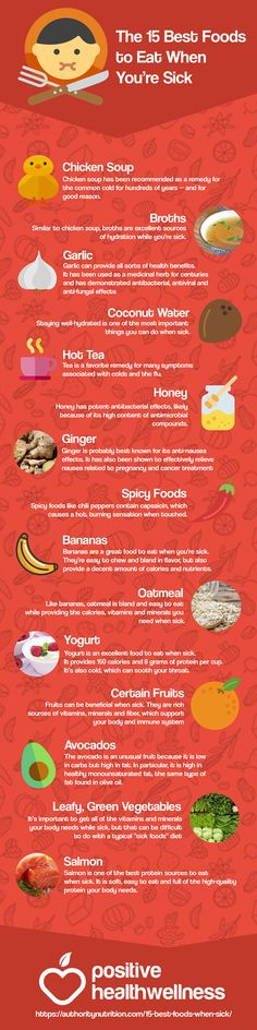 Cold Remedies The 15 Best Foods to Eat When You're Sick – Positive Health Wellness Infographic Flu Remedies, Health Remedies, Natural Remedies, Health And Nutrition, Health And Wellness, Health Tips, Eat When Sick, Food When Sick, Sick Food