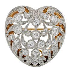 1STDIBS.COM Jewelry & Watches - TIFFANY & CO. Art Nouveau Diamond & Gold Heart Pin/Pendant - A. Brandt + Son