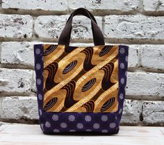 Mini Tote bag Waxed cotton African Shweshwe by ChameleonGirlBags, $50.00