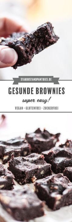 Gesunde vegane, zuckerfreie und glutenfreie Brownies: in wenigen Minuten kannst du eine gesunde Alternative zu Brownies zubereiten. Gesunde Brownies ohne Zucker schmecken sehr schokoladig, süß und saftig! #brownies #gesundebrownies #zuckerfrei