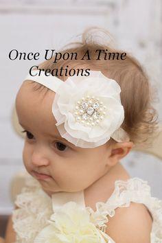 Ivory Chiffon Jewel Christmas Headband - Silky Fabric Chiffon Flower - Newborn Baby Hairbow - Little Girls Hair Bow - Holiday Photo Prop