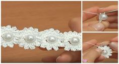 Crochet Mini Bead Flower String Tutorial-Video: How to crochet flower with bead? Crochet bead flower free pattern