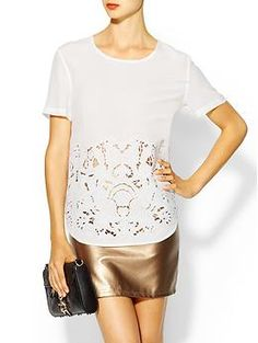 Equipment Riley Embroidered Silk Tee | Piperlime $278