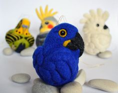 Needle felted Hyacinth Macaw ornament by Linda Brike