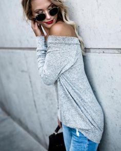 Body Moves Scoop Sweater - Heather Grey