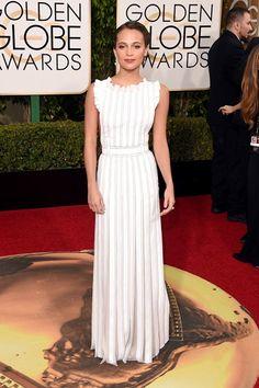 Jan. 10, 2016 Golden Globes - Alicia Vikander wore a Louis Vuitton dress. Photo byGetty
