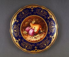Coalport Porcelain Plate with painting of fruit by Chivers. c. 1924.