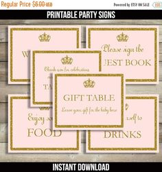 50% OFF SALE Pink and Gold Baby Shower Signs by DrawMeAParty