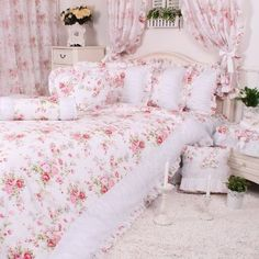 romantic red pink rose floral bedding setgirls fairy white ruffle bedding set