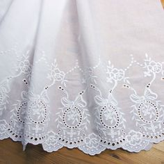 1 yd Vintage Style Embroidered Cotton Lace Fabric White 47cm Wide Quilting F/S #Cotton