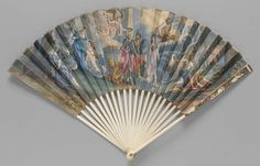 Commemorative fan of Prince Charles Edward Stuart claiming inheritance of English crown in the second Jacobite Rebellion (1745). Engraved and hand-painted paper leaf. Prince attended by Mars (Cameron of Lochiel) and Bellona (Flora MacDonald) center.