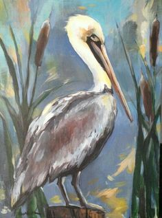 Brown pelican by Anya Lincoln-Dunn. Size: Medium: acrylic on canvas . Watercolor Bird, Watercolor Paintings, Louisiana Art, Louisiana Swamp, Pelican Art, Coastal Art, Beach Art, Animal Paintings, Bird Art