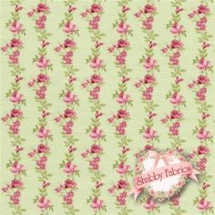 "Botanical 995-G by Makower UK: Botanical is a beautiful floral collection by Makower UK.  100% cotton, 43""/44"" wide.  This fabric features stripes of pink roses on a green background."