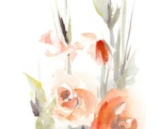 Red Flower Watercolor Painting Art Print Fine Art Print from Watercolor Painting Floral Wall Art  Professional quality watercolor print direct