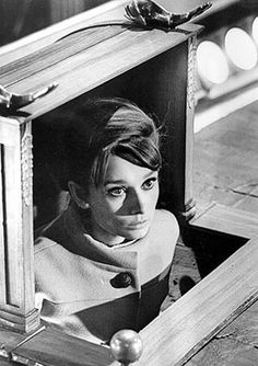 Audrey Hepburn hiding in Charade Audrey Hepburn Charade, Aubrey Hepburn, Golden Age Of Hollywood, Old Hollywood, Tomorrow Is Another Day, I Believe In Pink, Roman Holiday, My Fair Lady, I Icon