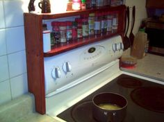 over+the+stove+shelf | Custom Over-The-Stove Spice Rack holds all of your most-used spices ...