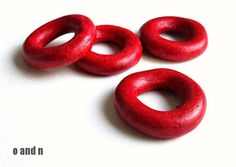 Donut greek ceramic beads hoop beads deep red set of 4 by OandN #beads #jewelrymaking #craftsupplies