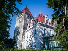 Having heard quite a bit about hotel Château d'Ouchy over the years, I'd always wanted to spend a night as a princess in that castle by Lake Geneva. Lake Geneva, Lausanne, Switzerland, Castle, Europe, Mansions, House Styles, Manor Houses, Villas