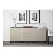 BESTÅ Storage combination with drawers - black-brown/Selsviken high-gloss/beige, drawer runner, soft-closing - IKEA