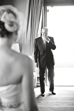 Such a sweet picture- dads reaction to you in your wedding dress on the big day! Something you both will treasure forever