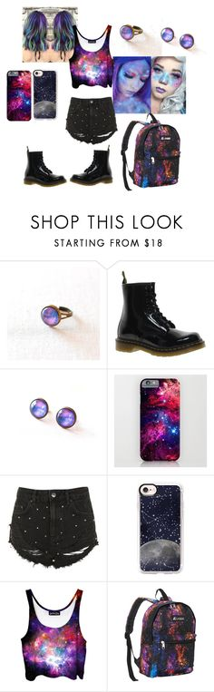 """""""Galaxy girl"""" by reb-hood ❤ liked on Polyvore featuring Dr. Martens, Topshop, Casetify and Everest"""
