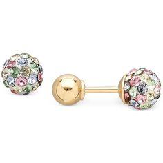 Children S Multi Crystal Earrings In 14k Gold 5 8 Ct T W