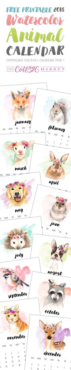 Free Printable 2018 Watercolor Animal Calendar - The Cottage Market I love these watercolor pictures Printable Calendar Template, Printable Planner, Free Printables, Tarjetas Diy, Decoration Stickers, Diy And Crafts, Paper Crafts, Diy Décoration, Personal Planners