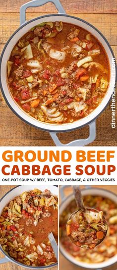 Ground Beef Cabbage Soup is an easy, one-pot, comforting soup with tender beef, rich tomato flavor, cabbage, and other veggies. Ready in just a half-hour! #dinner #soup #beefsoup #cabbagesoup #cabbage #dinnerthendessert Beef Cabbage Soup, Ground Beef And Cabbage, Cabbage Soup Recipes, Quick Recipes, Easy Healthy Recipes, Beef Recipes, Top Recipes, Diabetic Recipes, Slow Cooker Ground Beef