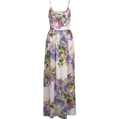 Floral Print Cutout Maxi Dress (370 BRL) ❤ liked on Polyvore featuring dresses, maxi dress, topshop, floral cutout dress, floral dresses, spaghetti-strap maxi dresses, floral cut out dress and cutout dresses