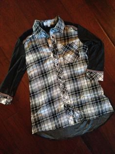 Plaid and Lace 3/4 Sleeved Blouse
