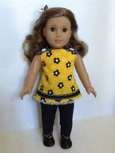 American Girl 18-inch Doll Clothes - Pants, Floral Top, & Matching Hair Bow via Etsy