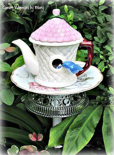 Bluebird Teapot Garden Totem Stake  As by GardenWhimsiesByMary, $37.00