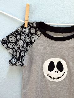 Boys Top Jack Skellington Gray Black Raglan Tee by elkdresses