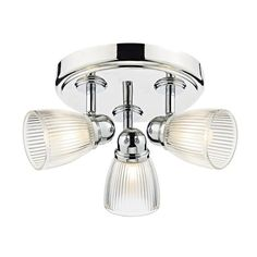Dar Lighting Cedric 3 Light Bathroom Ceiling Spot Light Fitting In Polished Nickel Finish With Ribbed Glass Shade - Dar Lighting from Castlegate Lights UK Best Picture For bathroom lighting design For Bathroom Spotlights, Bathroom Lighting Design, Bathroom Ceiling Light, Ceiling Spotlights, Flush Ceiling Lights, Sloped Ceiling, Spot Light Fittings, Spot Plafond, Thing 1