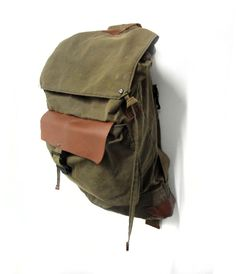 0933c470d734 sessa carlo backpack haversack olive green bittwersweet brown Waxed Canvas
