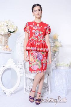 EVERLASTING BATIK | ME1309.1027 Chelsea Peplum Batik Dress -XL