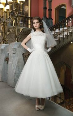 Wonderful A-line Ankle-length Appliques Wedding Dress
