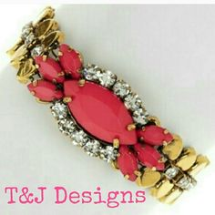 """T & J Designs Pendant Chain Bracelet New! Pendant chain bracelet from T&J Designs from the Poshmark wholesale portal. Pink and gold with crystals. 7-8.5"""" adjustable with lobster claw closure. MSRP $26. Because I am a shopaholic, I bought two of them! All you need is one to make a statement.  Have the tag, but I removed it. Never worn. My shopping obsession is your gain! T&J Designs Jewelry Bracelets"""