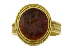 Roman gold finger ring with eagle intaglio, circa 3rd - 4th century AD.