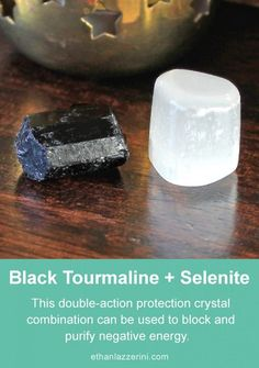 - Ethan Lazzerini Combine Black Tourmaline and Selenite crystals to cleanse bad vibes or negative energy from your aura or environment Crystals Minerals, Rocks And Minerals, Crystals And Gemstones, Stones And Crystals, Selenite Crystals, Gem Stones, Black Crystals, Crystal Healing Stones, Crystal Magic