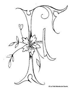 Alphabet F - Album photos - Broderie d'Antan Embroidery Alphabet, Alphabet Art, Embroidery Monogram, Letter Art, Embroidery Stitches, Fancy Letters, Monogram Letters, Letters And Numbers, Monogramm Alphabet