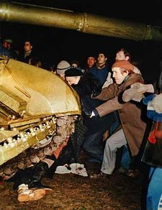 1991 January 13, Lithuanians defending the TV Tower from tanks with their bare hands, so it could braodcast the russian attack to europe.