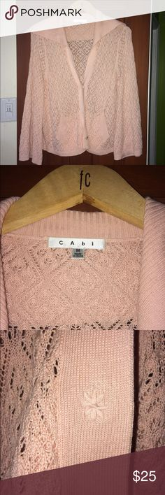 CAbi Pointelle Bell Sleeve Shawl Cardigan Beautiful ballet pink color. I wore this only one time for a couple hours! 3/4 length bell sleeves. Swing Cardigan, 3 snap placket. 2 pockets. Shawl Collar. Cotton/Rayon Blend. CAbi Sweaters Cardigans